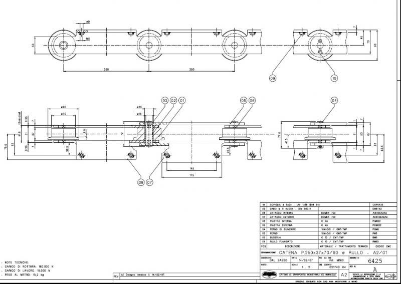Výkres řetězu ZMC W5570PZTL pro práškovací linku.